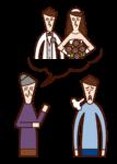 息子の結婚を期待する親(女性)のイラスト