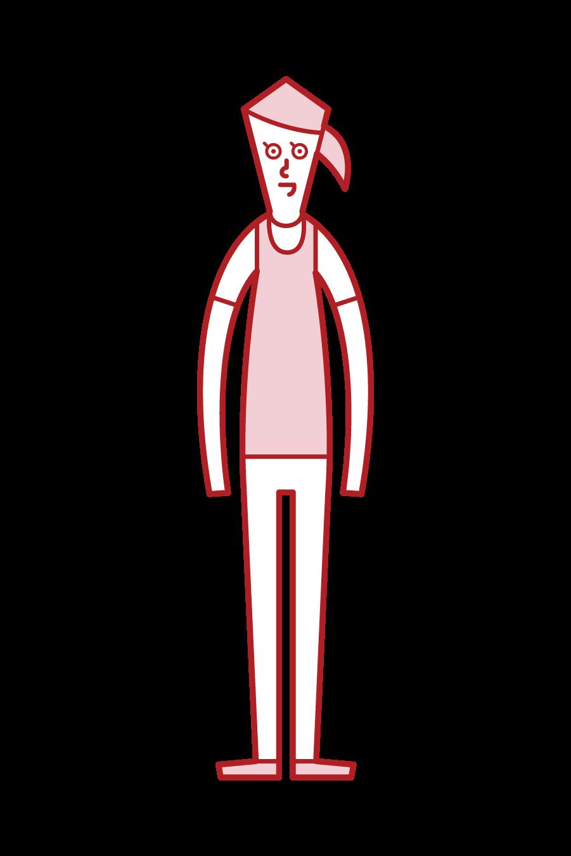 비부스를 입은 사람(여성)의 일러스트