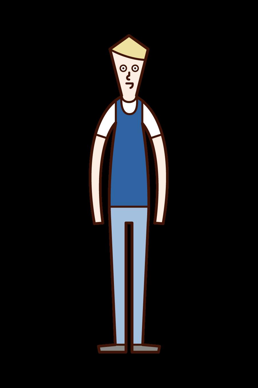 ビブスを着用している人(男性)のイラスト