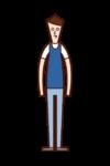 Illustration of a man wearing bibs