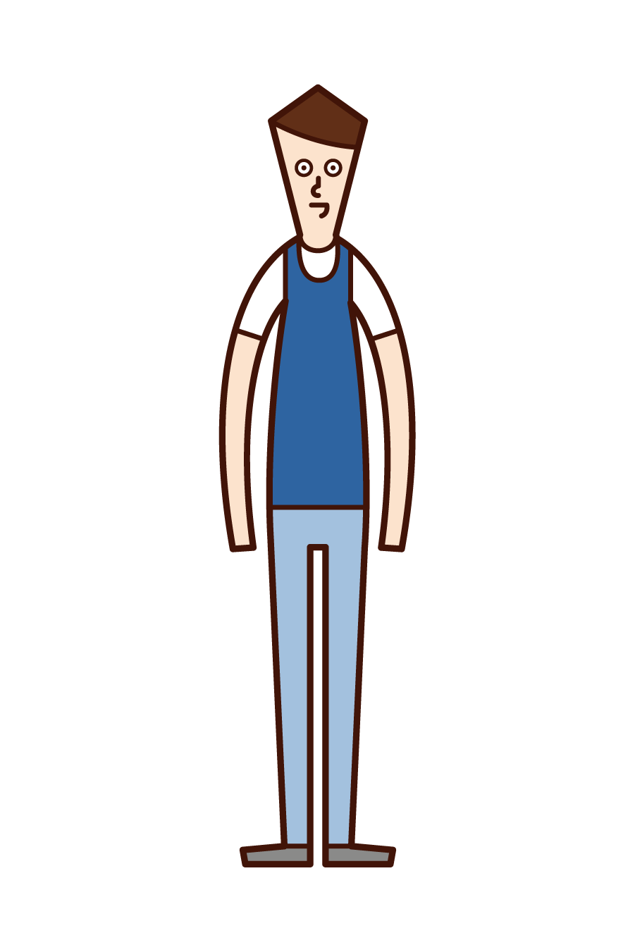 Illustration of a man wearing bibs