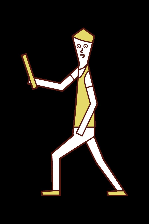 스틱을 던지는 사람 (남성)의 그림