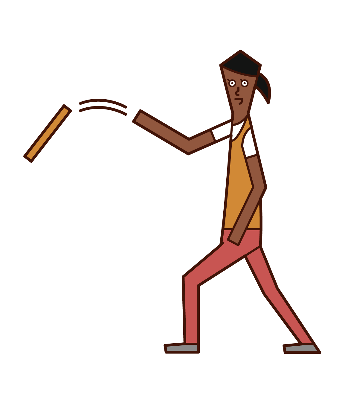 Illustration of a person (woman) throwing a rod