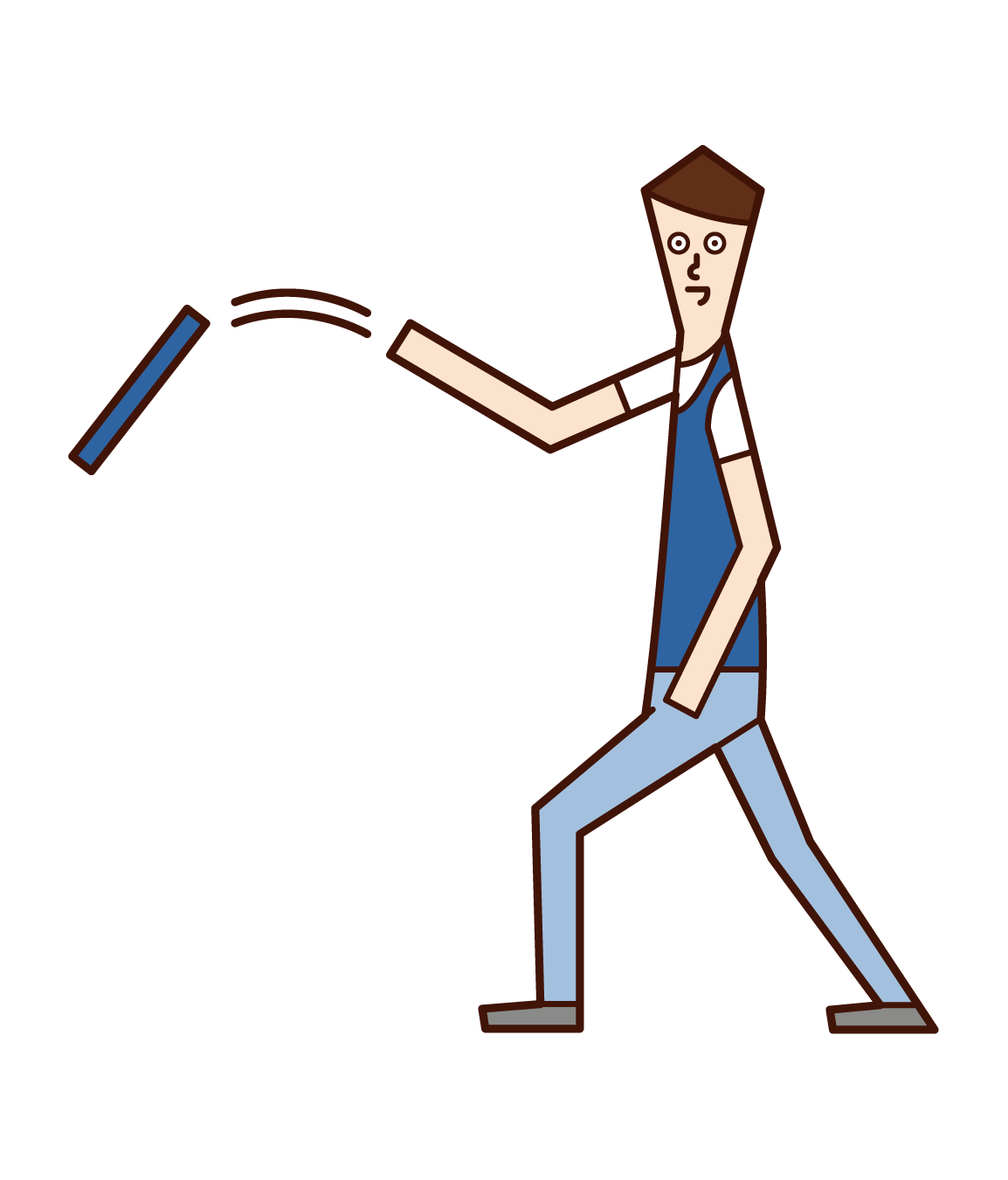 Illustration of a man throwing a rod