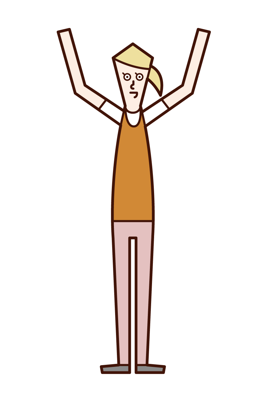Illustration of a woman who is happy to win a match