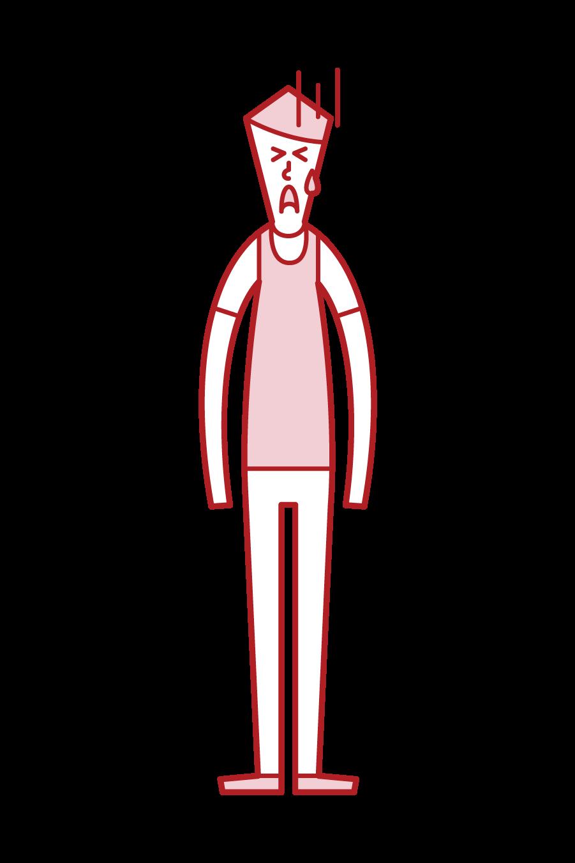 試合に負けて悔しがる人(男性)のイラスト