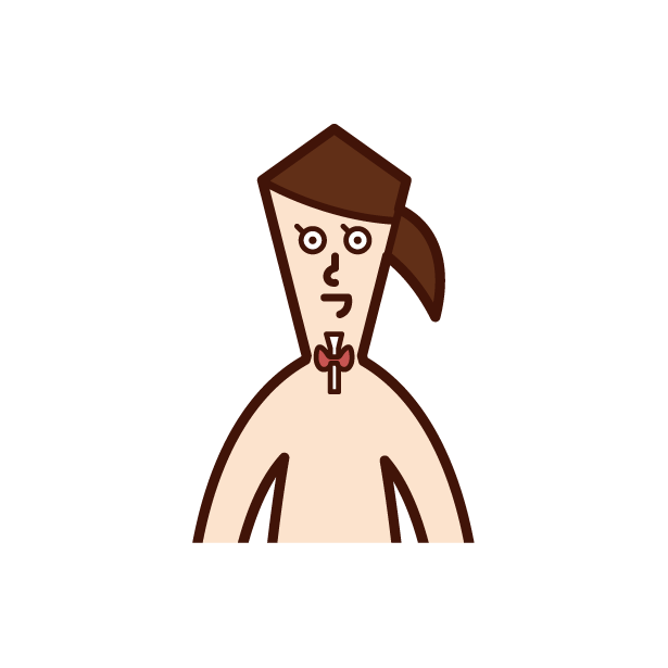 Illustration of thyroid gland (female)