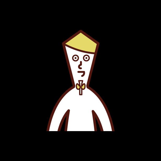 甲状腺(男性)のイラスト