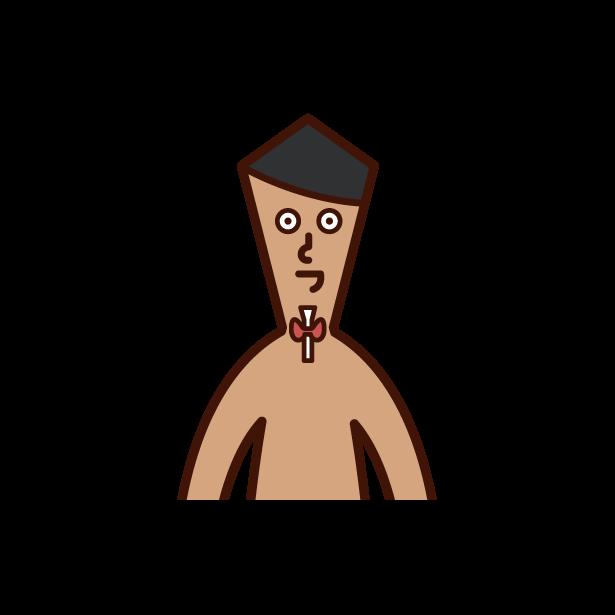 Illustration of thyroid gland (male)