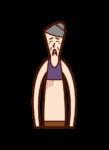 帯状疱疹(おばあさん)のイラスト