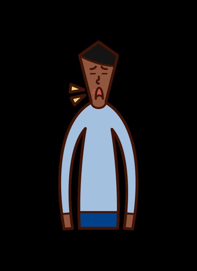 口唇ヘルペス(男性)のイラスト