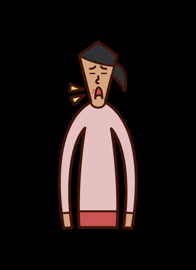 口唇ヘルペス(女性)のイラスト