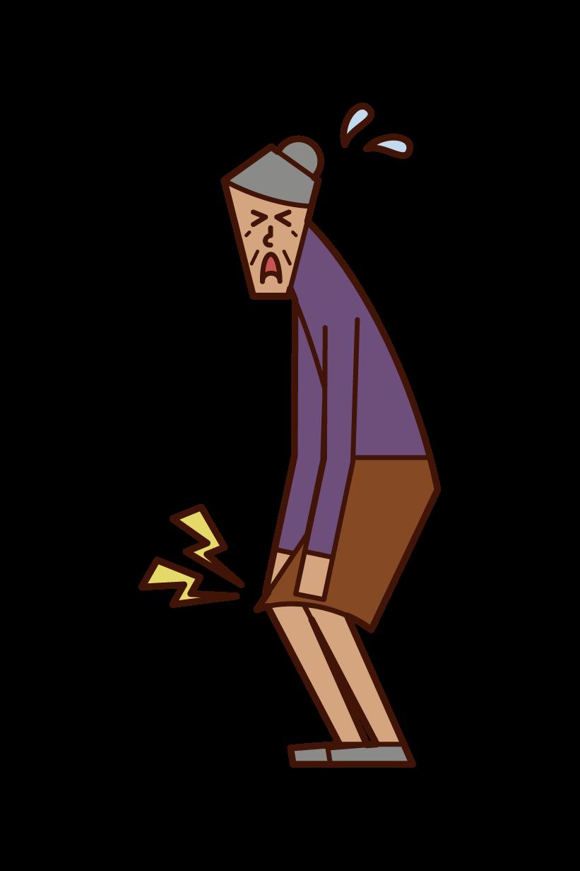 膝の痛み・膝関節症(おばあさん)のイラスト