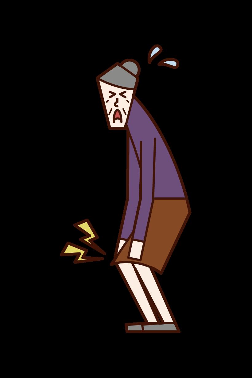 무릎 통증과 무릎 관절염 (할머니)의 그림