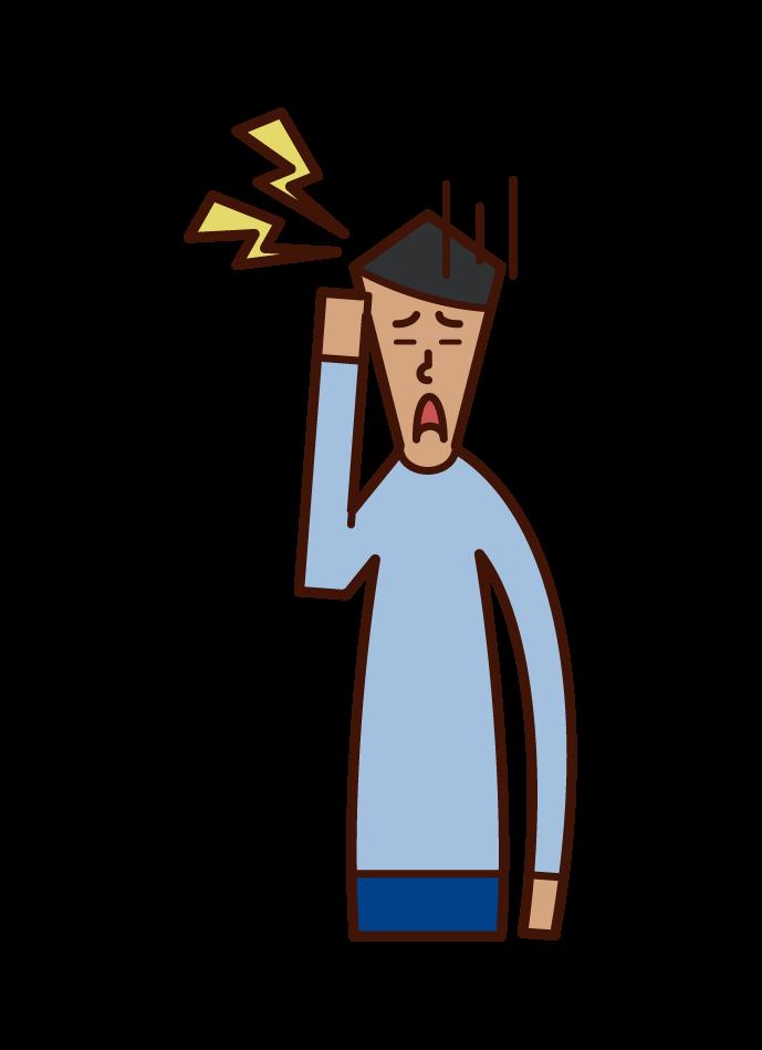 편두통 (남성) 그림