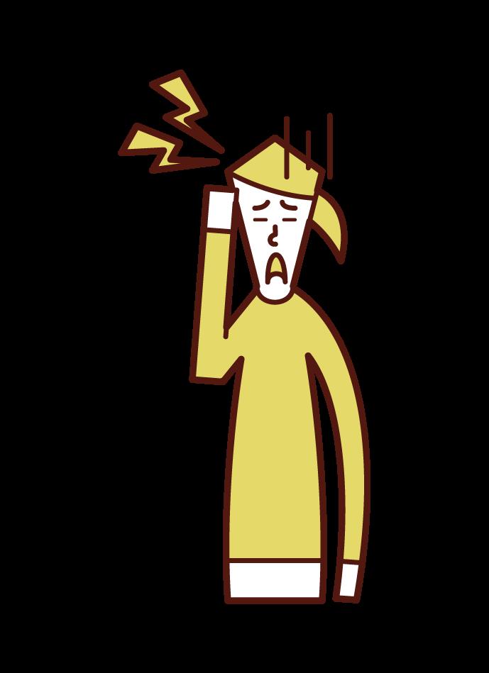 偏頭痛(女性)のイラスト