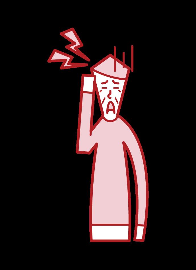 偏頭痛(おじいさん)のイラスト