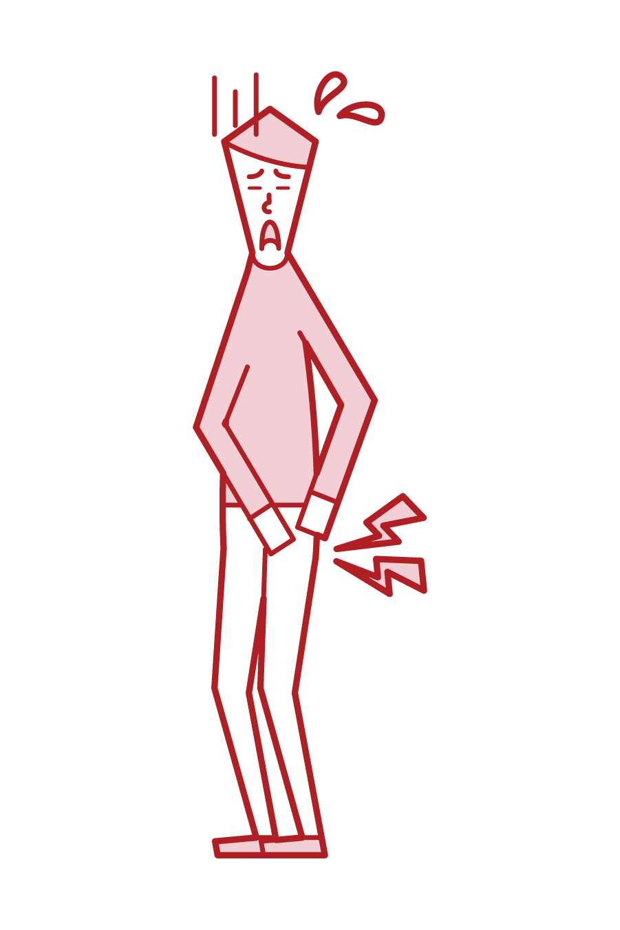 Illustration of hip joint disease (male)
