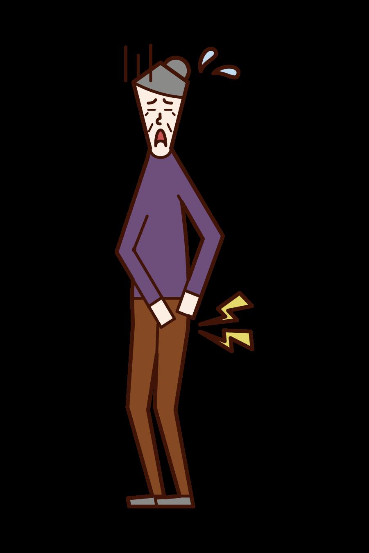 股関節の疾患(おばあさん)のイラスト