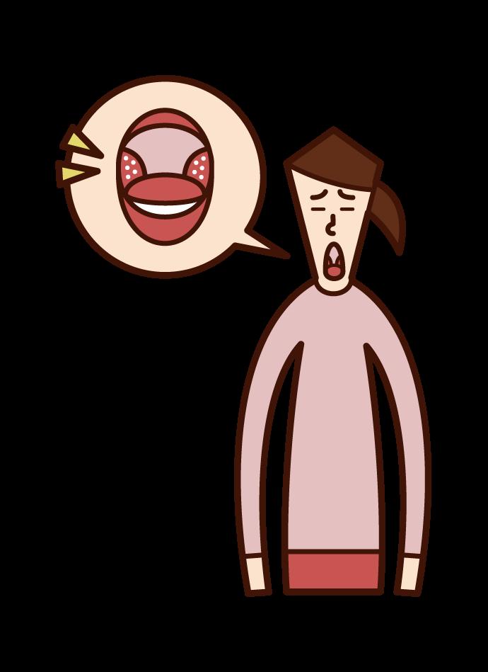 扁桃周囲膿瘍(女性)のイラスト