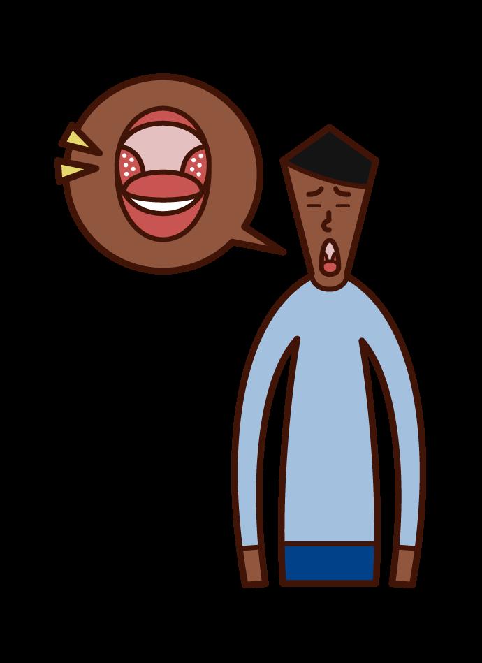 扁桃周囲膿瘍(男性)のイラスト