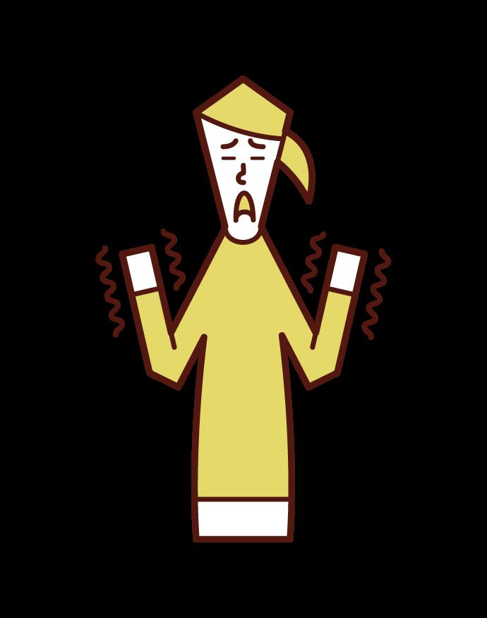Illustration of hand tremor (woman)