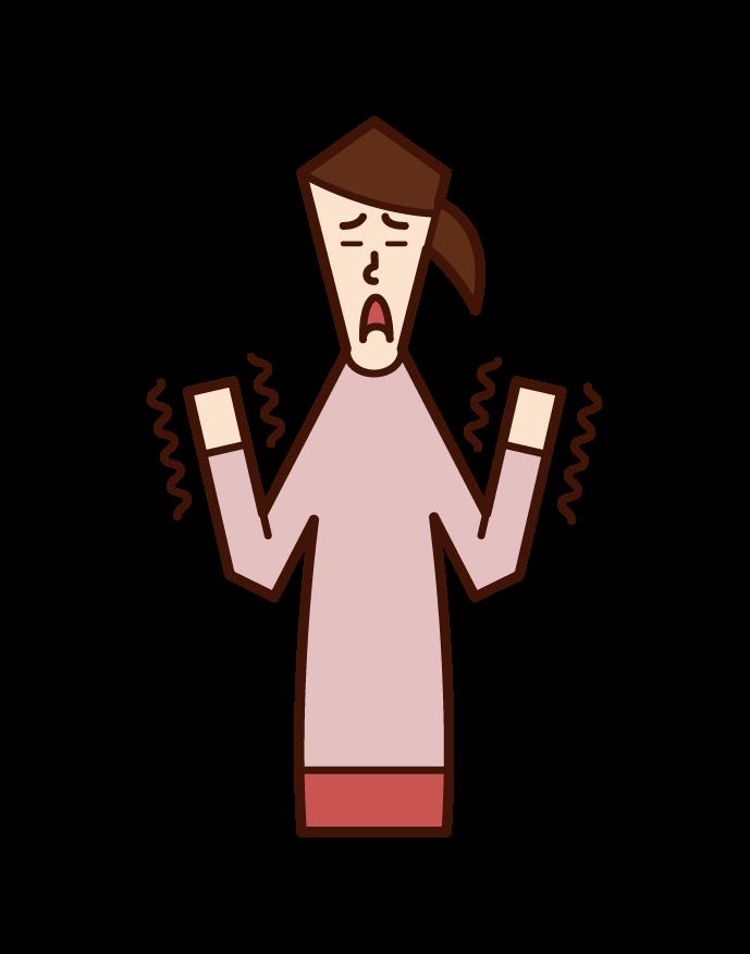 手の震え(おばあさん)のイラスト