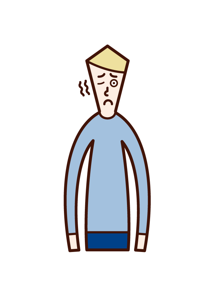 Illustration of ocular convulsions (male)