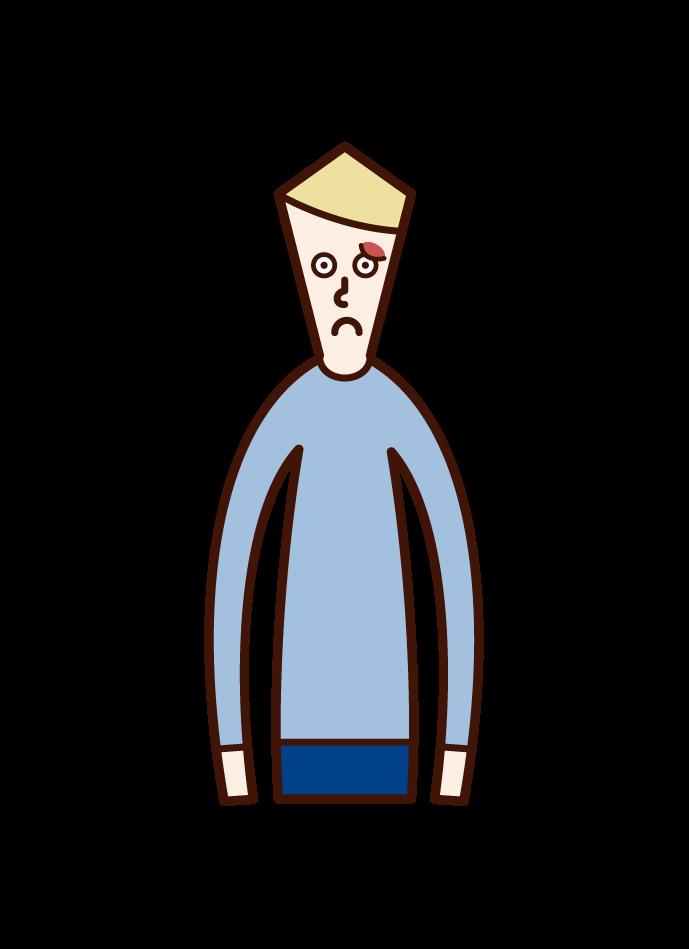 Illustration of one's barley grain tumor (male)