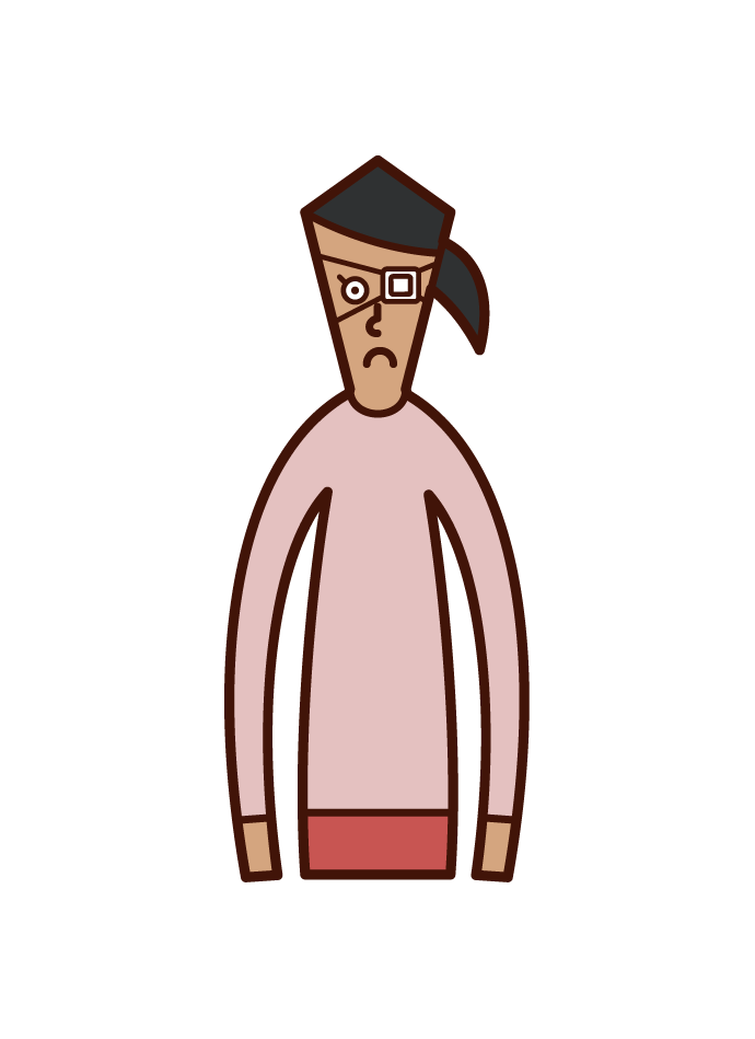 Illustration of a woman with an eye strip