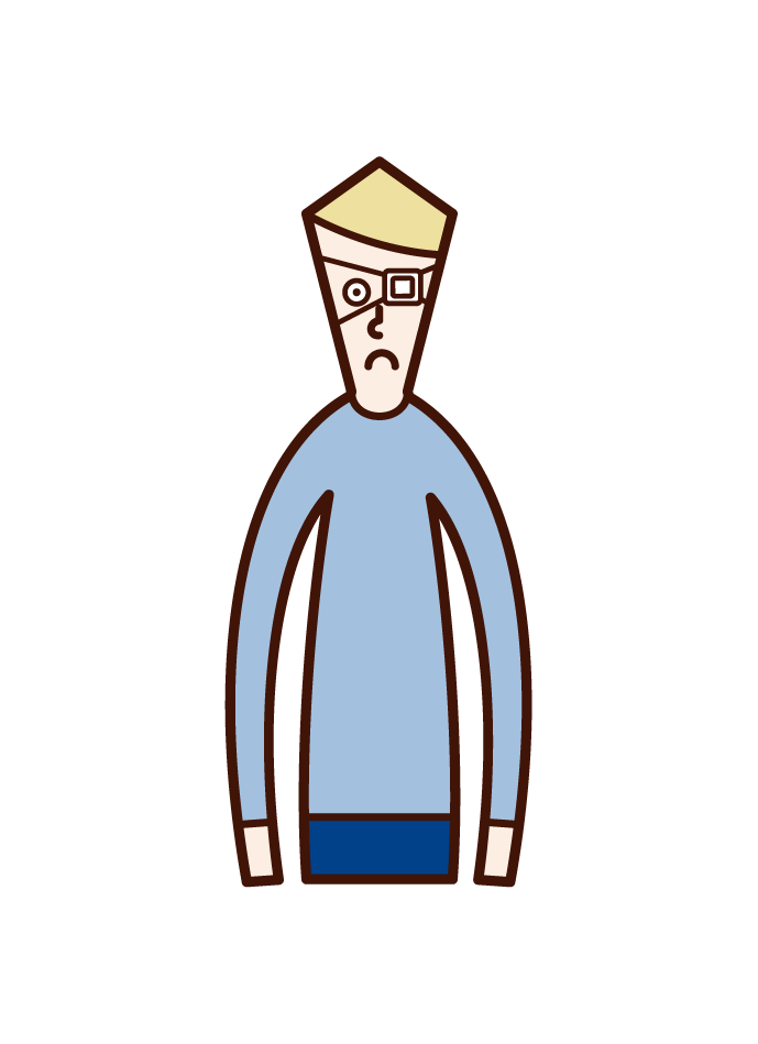 Illustration of a man with an eye strip