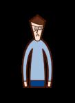 眼帯をつけた人(男性)のイラスト