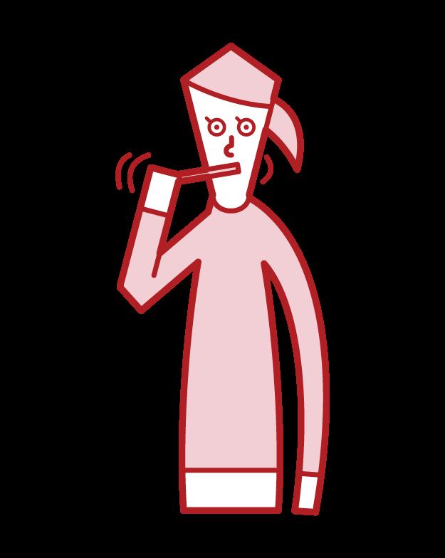 歯磨きをする人(女性)のイラスト