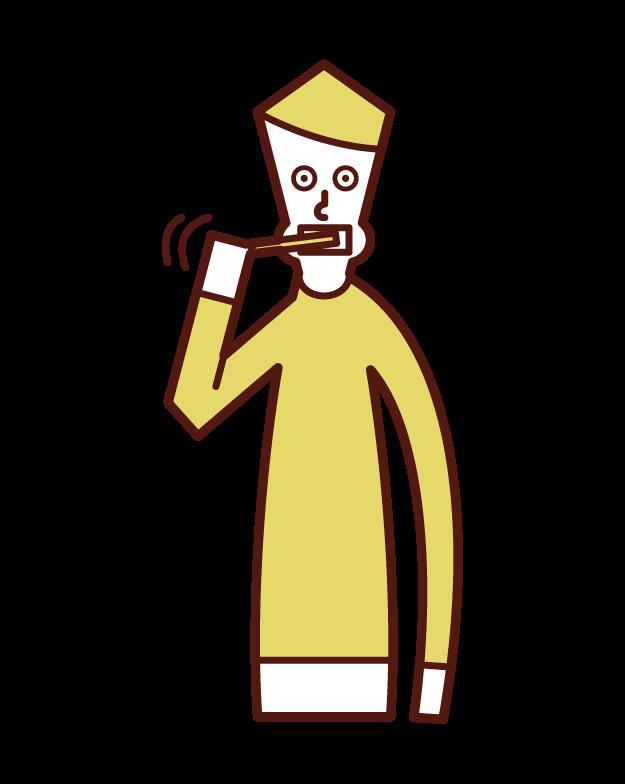 歯磨きをする人(男性)のイラスト