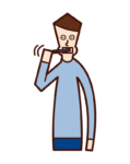 Illustration of a man brushing his teeth