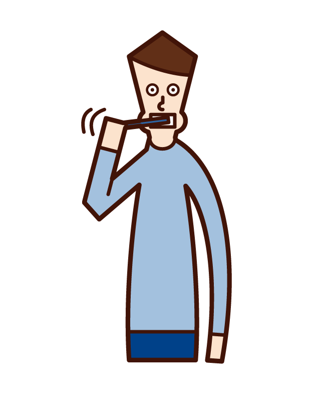 Illustration of a man brushing his teeth