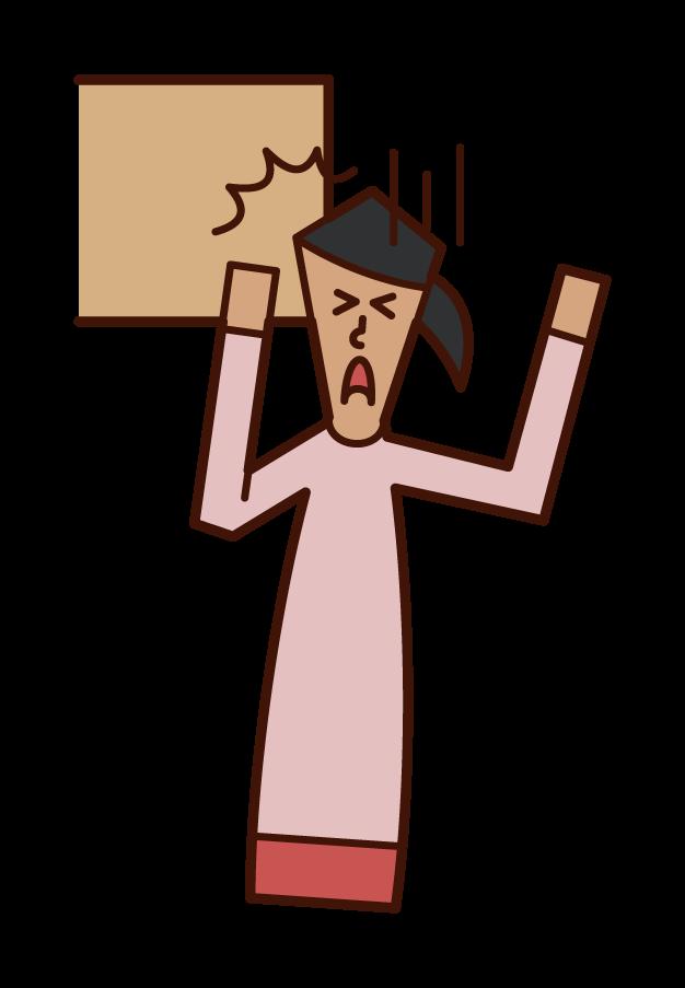 Illustration of head bruise (female)
