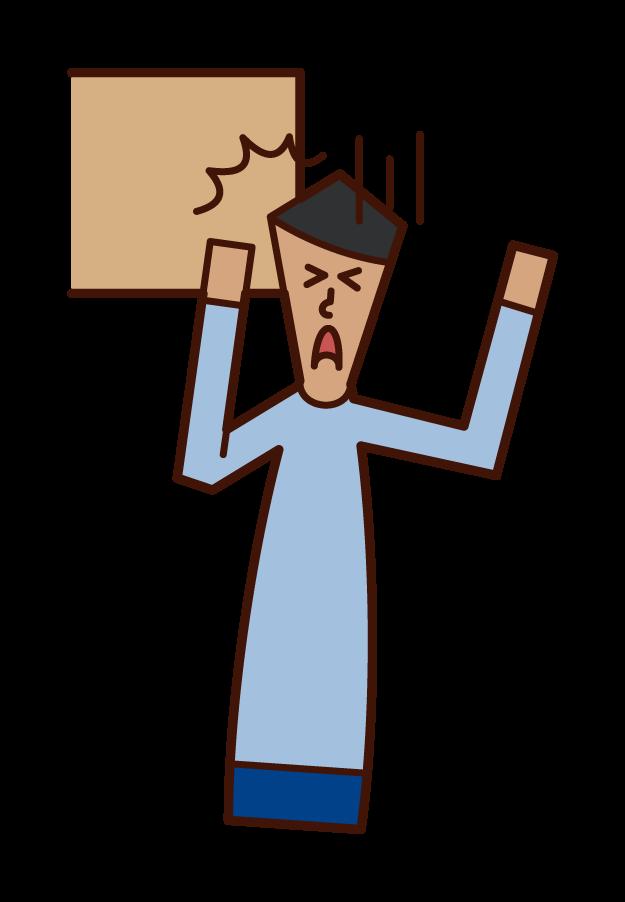Illustration of head bruise (male)