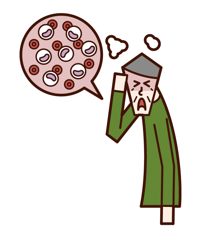 Illustration of leukemia (old father)