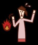 Illustration of burn (female)