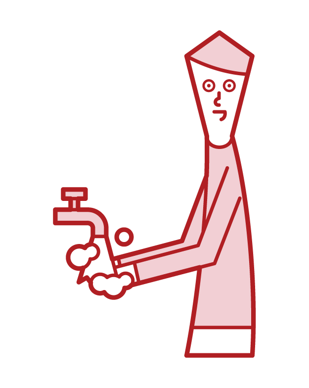 Illustration of a man washing his hands