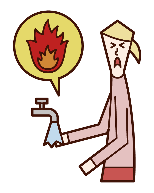 Illustration of a person (woman) cooling her burned hands