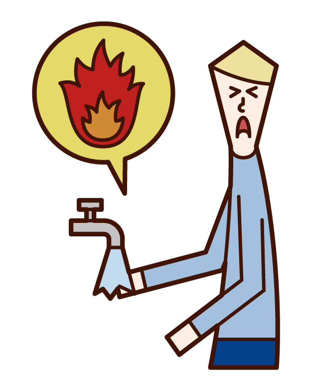 Illustration of a man cooling his burned hand