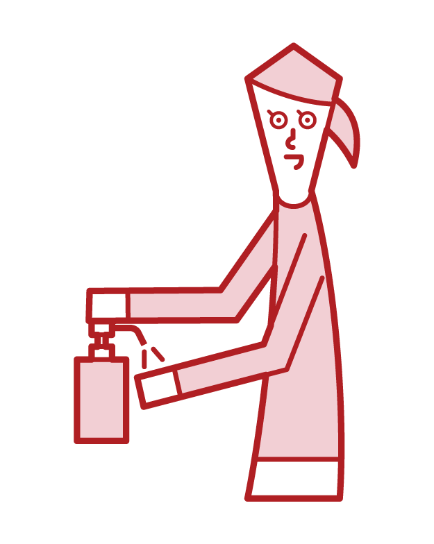 Illustration of a person (woman) disinfecting her hands with alcohol