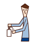 Illustration of a man disinfecting his hands with alcohol