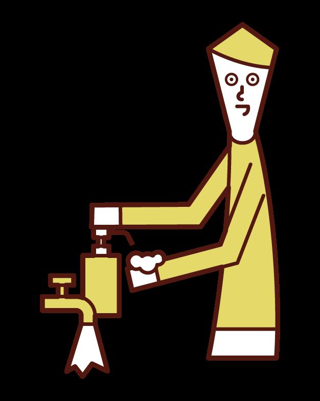 비누를 사용하는 사람 (남성)의 그림
