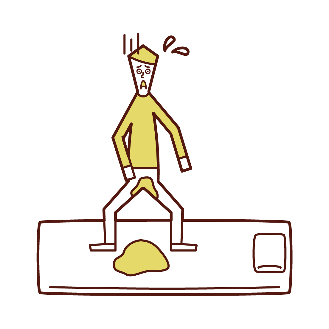 Illustration of bed and night urology (boy)