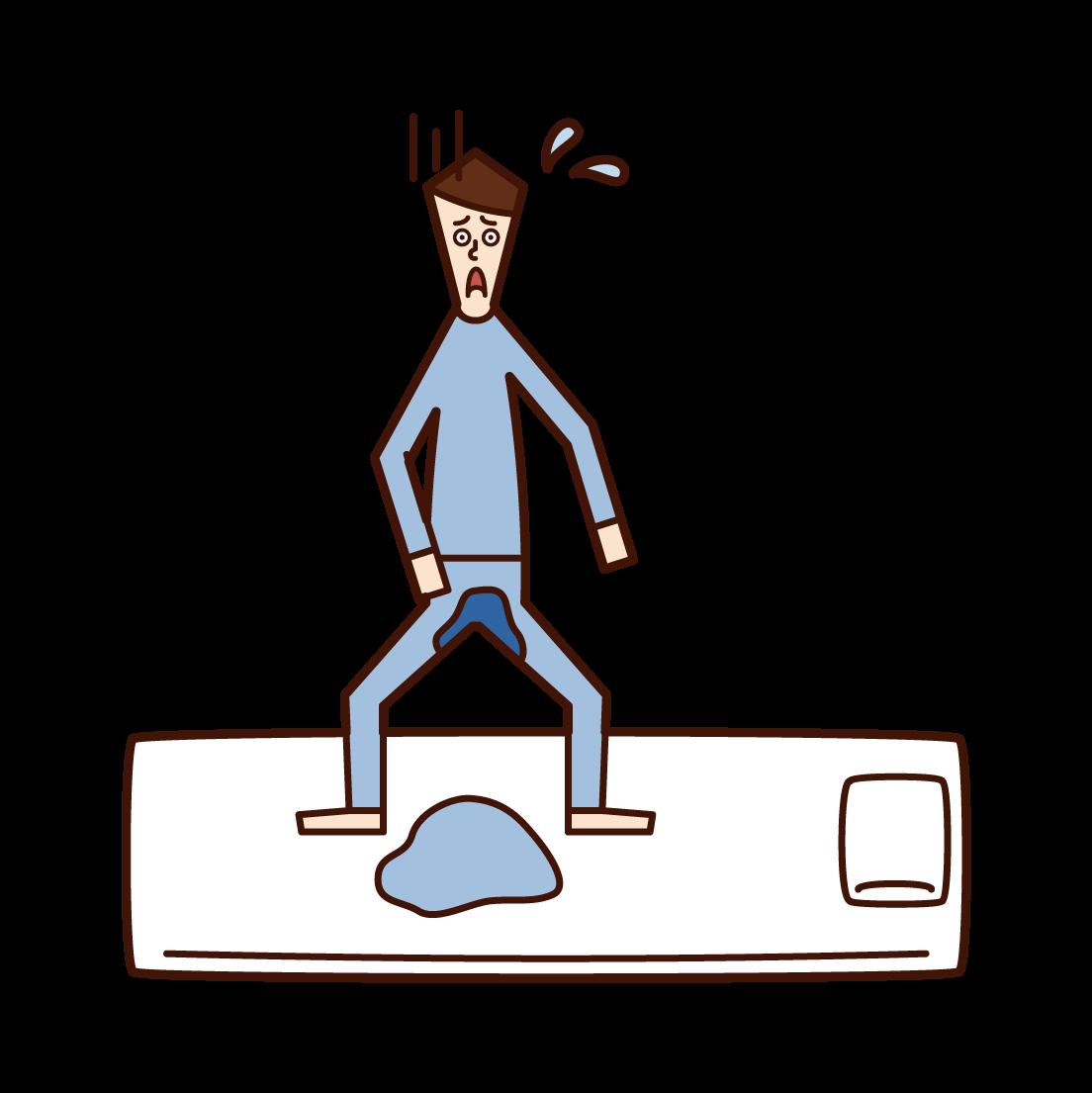おねしょ・夜尿症(男子)のイラスト