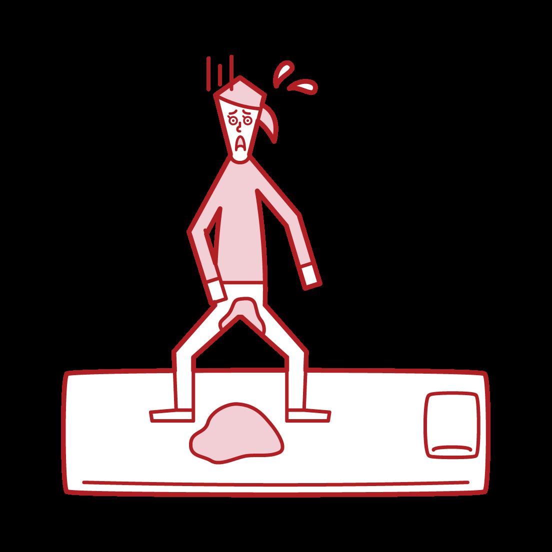 おねしょ・夜尿症(女子)のイラスト
