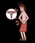 Illustration of ovarian cancer (female)